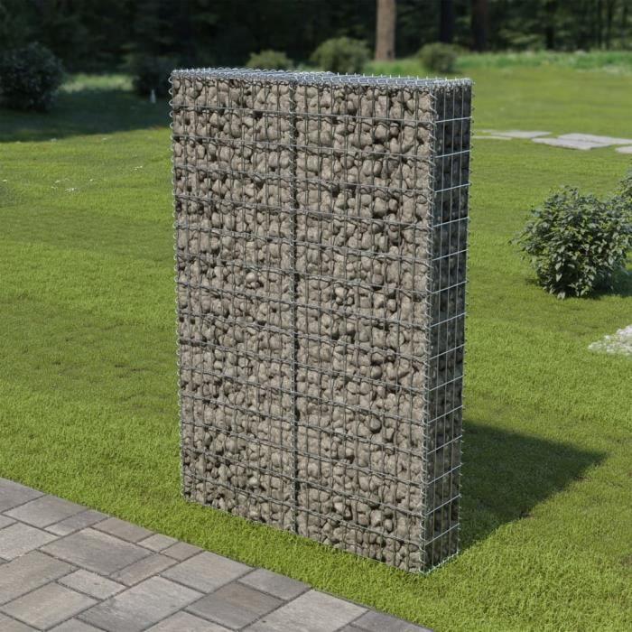 Mur à Gabion avec Couvercles Acier Galvanisé 100 x 20 x 150 cm