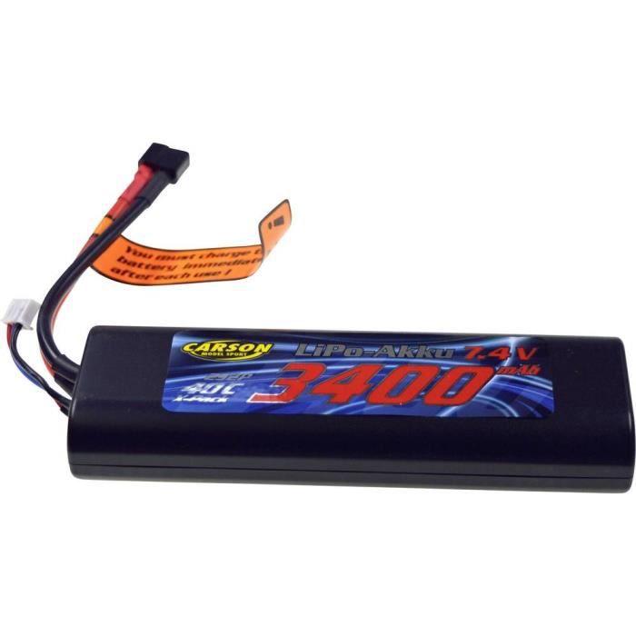 Pack de batterie (LiPo) 7.4 V 3400 mAh Carson Modellsport 500608098 40 C hardcase stick fiche T femelle
