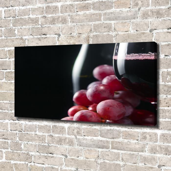 Tulup 140x70 cm art mural - Image sur toile:- Nourriture boissons - Raisins Vin - Rouge