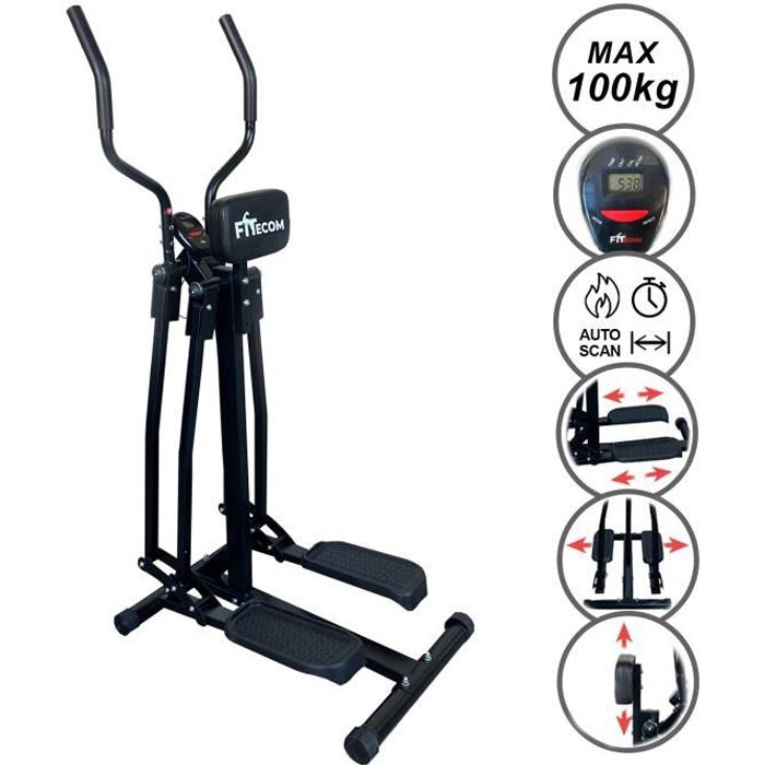 Vélo Elliptique Air Walker Cardio Fitness avec Ordinateur et Écran LCD Support Abdominal Cross Trainer Noir Velo d'Appartement
