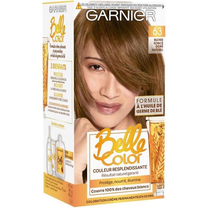 Colorations Garnier - Belle Color - Coloration permanente Châtain - 63 Blond foncé doré naturel 637857