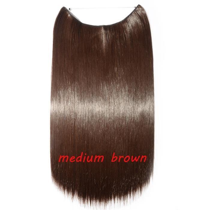 902 20 pouces -S noilite 32 couleurs Invisible fil Halo pince à Extension de cheveux en faux cheveux postiches Extensions de cheveu
