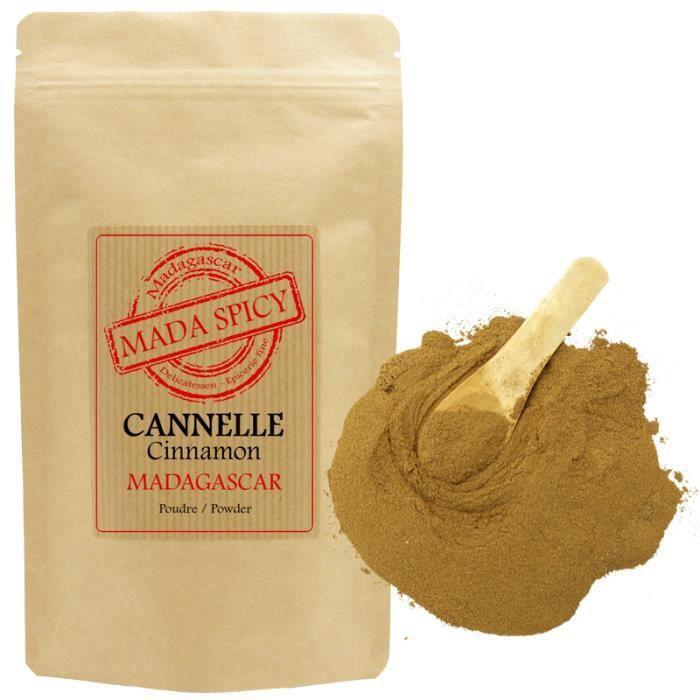 Cannelle en poudre de Madagascar 1020 gr en sachet kraft alimentaire refermable.