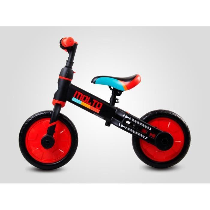 MOLTO - Draisienne 3en1 tricycle + vélo - Dès 3 ans 30 kg max - Petites roues + pédales amovibles - Roues en mousse EVA - Noir/Rouge