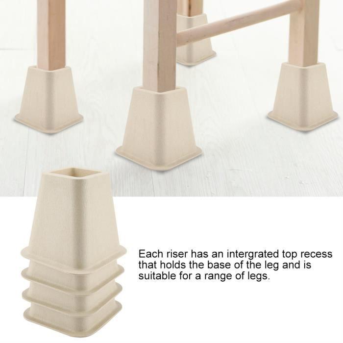 Stock FR 4pcs Elevateur Réhausseur DE MEUBLE CHAISE Pied Riser Jambe de meubles de Lit Tableau Bureau Canapé sofa Accessoires de Fun