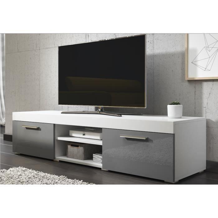 PARIS Meuble TV contemporain décor Blanc et Gris - 140 cm