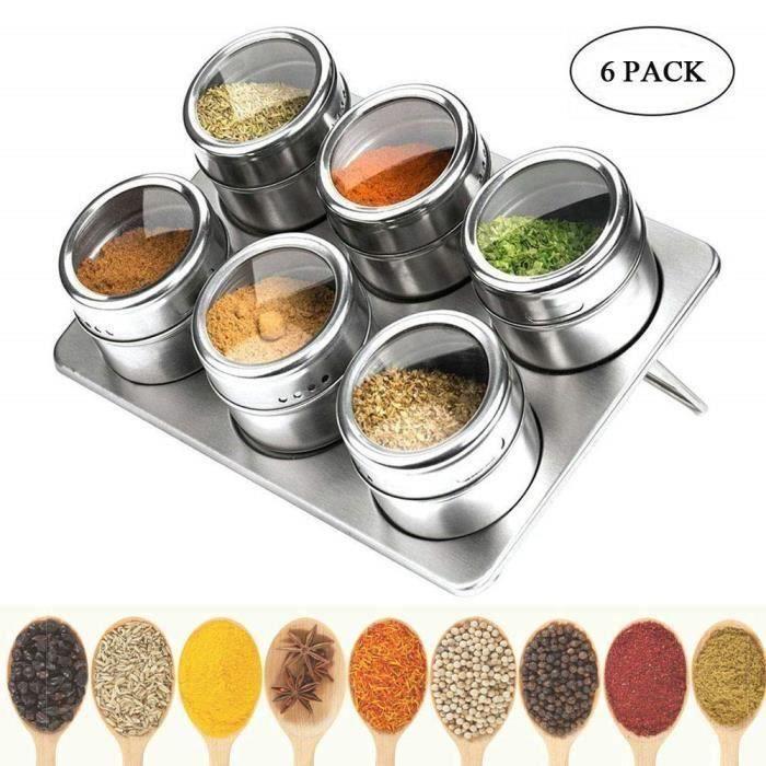 Pots à Épices Magnétique, Set de 6 Boîtes à Épices Magnétiques, pour BBQ Cuisine, Contenants à Épices Ronds en Acier Inoxydable