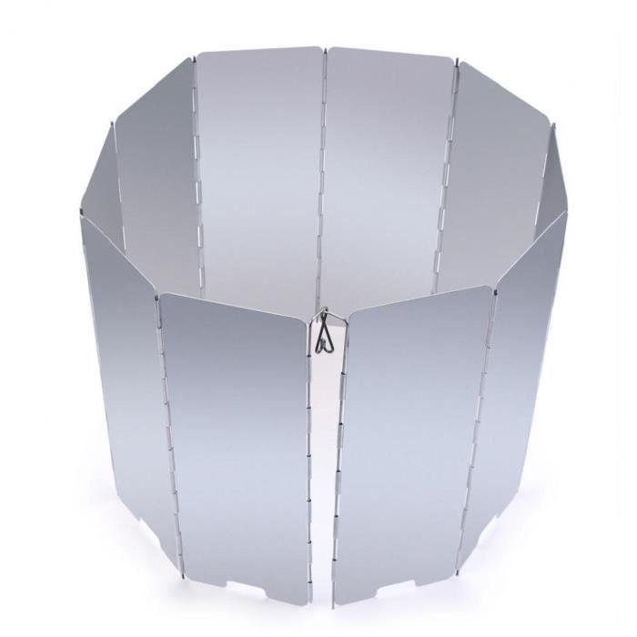10 assiettes en aluminium alliage extérieur pliable camping cuisinière cuisinière poêle vent écran pare-brise de pare-brise