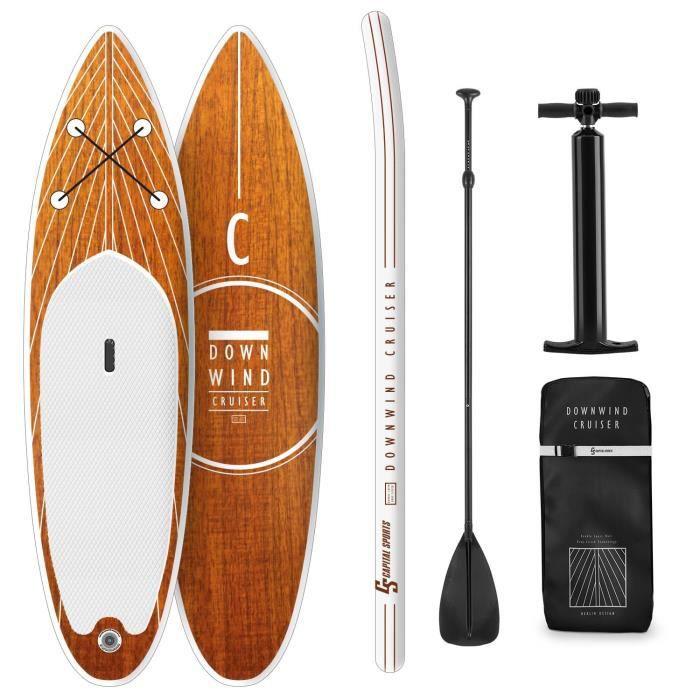 CAPITAL SPORTS Downwind Cruiser M Set de paddle gonflable: Planche 330 x 15 x 77 cm & pagaie télescopique - Charge 130kg - Orange