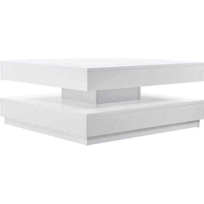 [en.casa] Table Basse avec Plateau Tournant Panneau de Fibre de Bois Blanc 76 x 76 x 38 cm