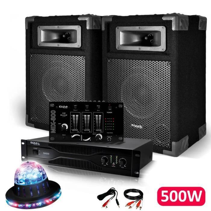 Pack Sono Dj IBIZA découverte 2 Enceintes + Amplificateur 500W + Table de mixage + Câblages + Effet ROUNDIAMS LED