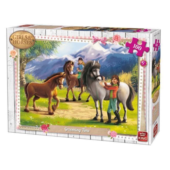 Puzzle 100 pièces : Girls & Horses : Toilettage cheval aille Unique Coloris Unique