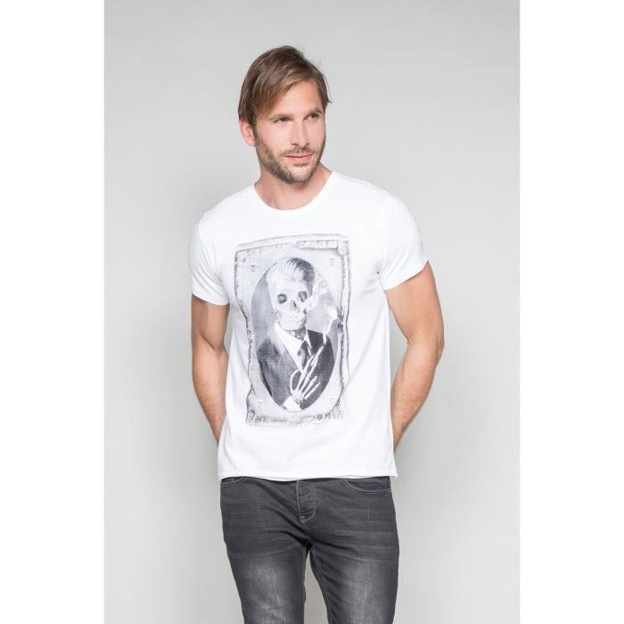 STRIPHTML(T-shirt photo tête de mort DENIL - Couleur - White, Taille - M)