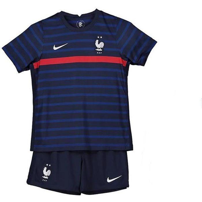 Maillot Equipe de France FFF 2 Etoiles 2020 2021 EURO Maillot de Foot Kit Pas Cher pour Enfant Garçon
