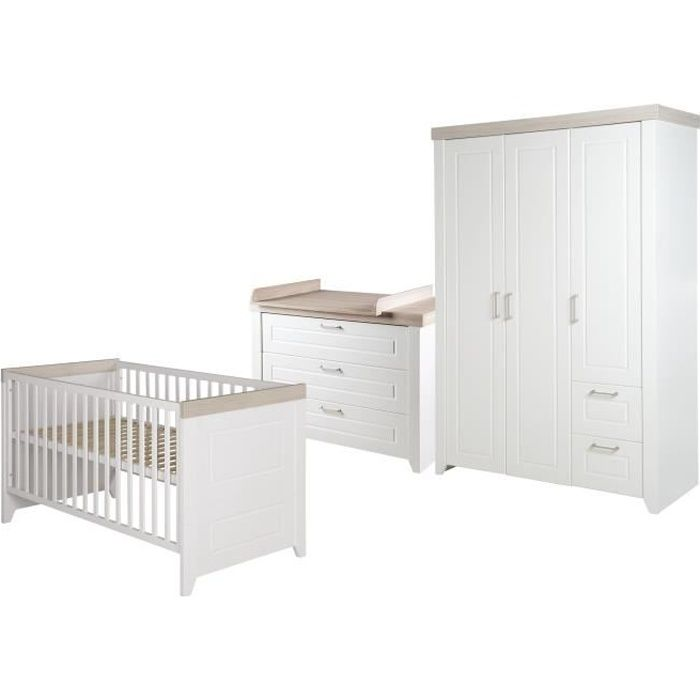 ROBA Ensemble de meubles bébé -Felicia- – lit bébé 70x140 cm, commode à langer et armoire à 3 portes