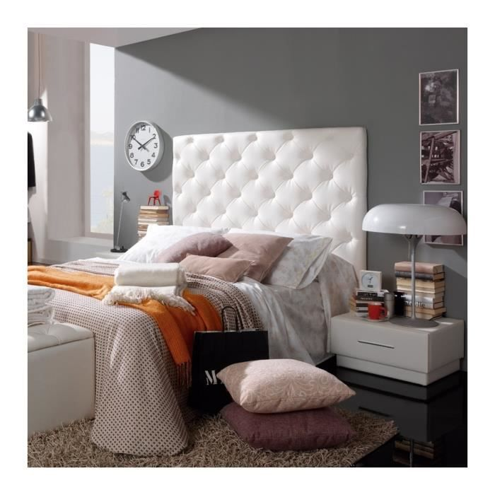 t te de lit capitonn e rome blanc bering achat vente t te de lit t te de lit capitonn e. Black Bedroom Furniture Sets. Home Design Ideas
