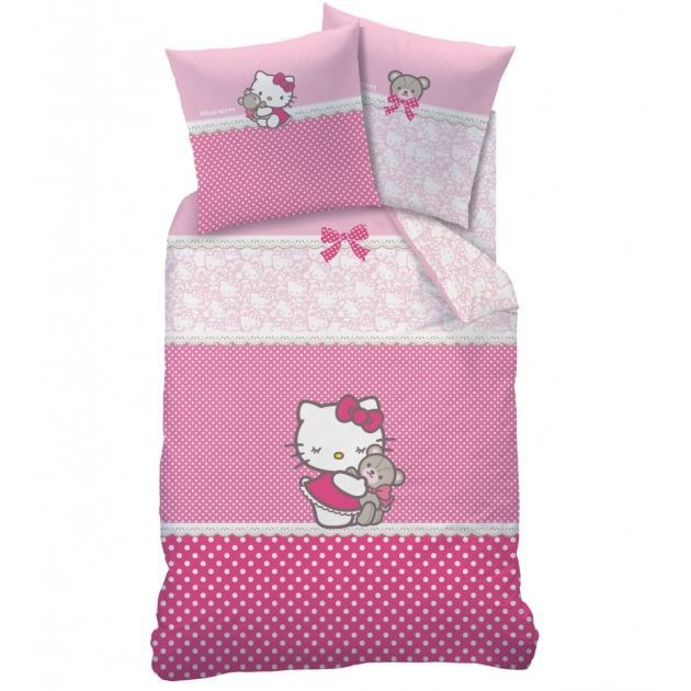 hello kitty parure de lit housse de couette achat vente housse de couette cdiscount. Black Bedroom Furniture Sets. Home Design Ideas