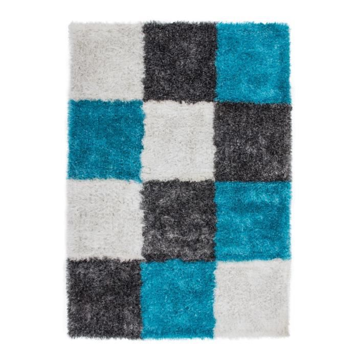 tapis shaggy carreau design turquoise gris blanc 35 mm 200x290 cm achat vente tapis. Black Bedroom Furniture Sets. Home Design Ideas