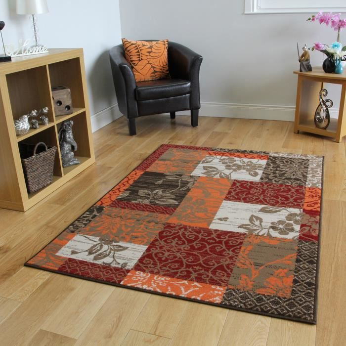 Tapis Abordable patchwork rouge orange marron multi Grande ...