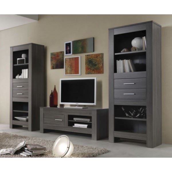 ensemble meuble tv fino coloris ch ne gris achat vente meuble tv ensemble meuble tv fino. Black Bedroom Furniture Sets. Home Design Ideas