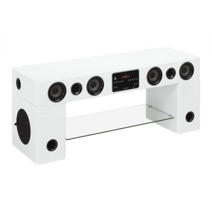 meuble tv home cin ma int gr watts ii bluetooth blanc. Black Bedroom Furniture Sets. Home Design Ideas