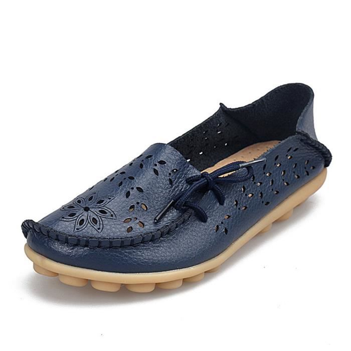 Leather Moccasins Loafers Driving Casual Shoes Indoor Flat Slip-on Slippers YJ8PO Taille-41 1-2