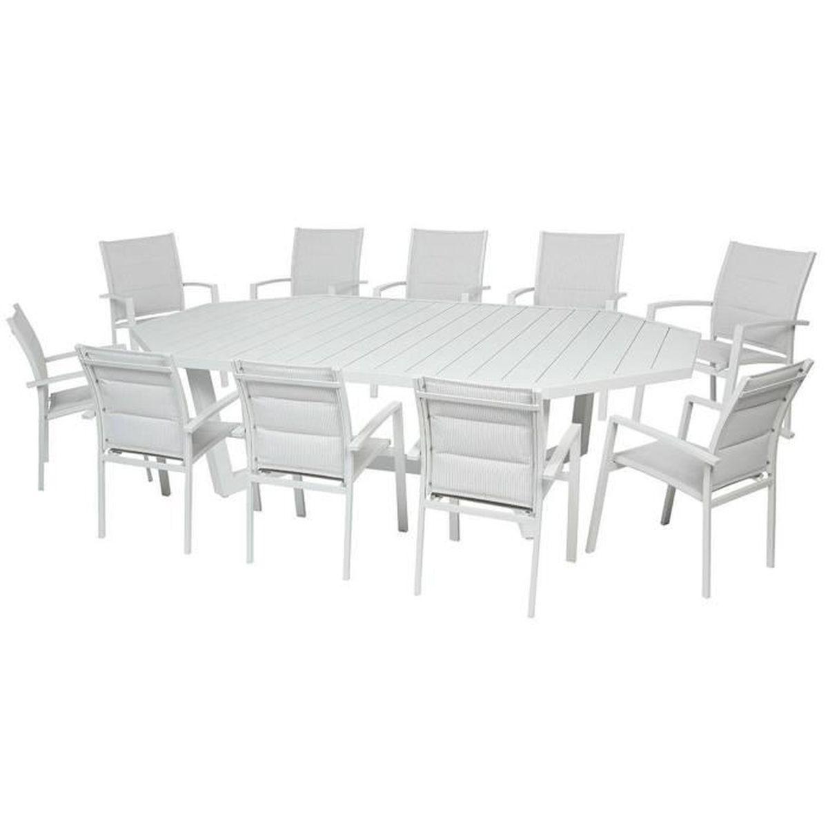 Table octogonale en Aluminium coloris galet - Dim : L 274 x ...