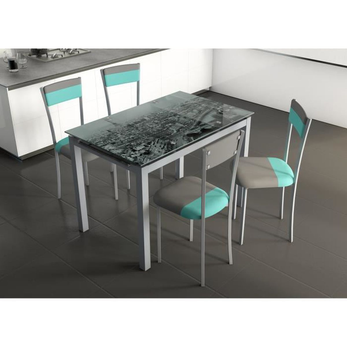 Table extensible en acier gris en verre d cor skyline for Table extensible gris clair