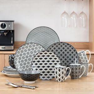 SERVICE COMPLET Vancasso HARUKA 16pcs Service de Table Porcelaline