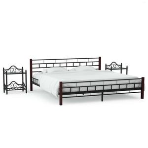 STRUCTURE DE LIT Cadre de lit avec 2 tables de chevet Métal 180x200