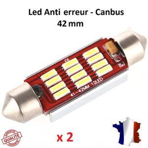 AMPOULE TABLEAU BORD 2 ampoule Navette LED C10W 42mm ANTI ERREUR CANBUS