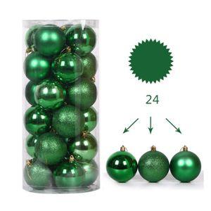 Boule Noel Verte 8cm Boule de Noël 24PCS Couleur VERT Décoration de Noël pour Sapin