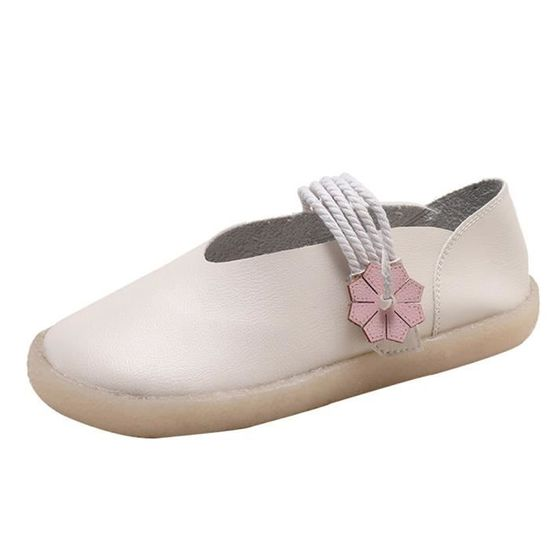 Femmes bout rond Slip-on chaussures plates confortables Casual Chaussures de style ethnique Beige_Cu*7014 Beige Beige - Achat / Vente slip-on