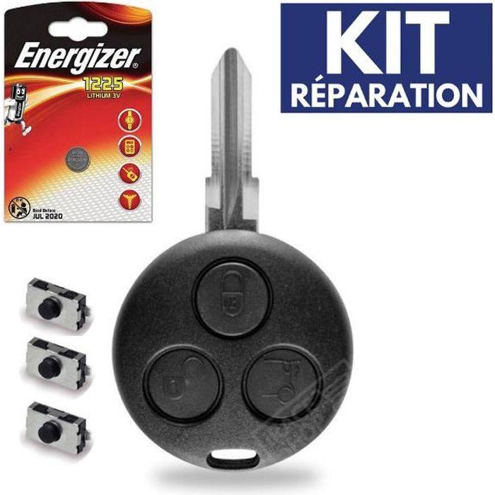 Coque de Télécommande Plip Boitier pour Clé SMART Fortwo 450 + Switch + 1 Pile CR1225 ENERGIZER
