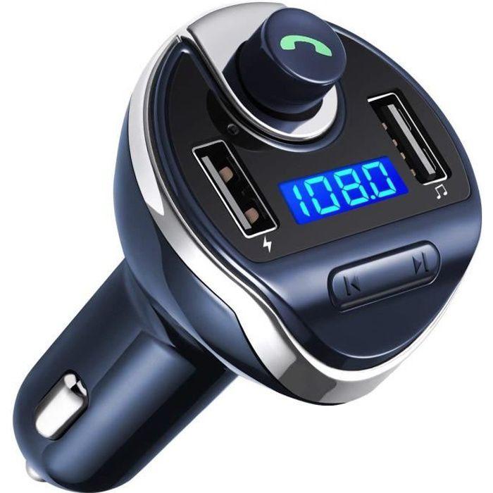 Chargeur de Voiture, ports de chargement USB doubles, appel mains libres, lecteur de musique - Bleu