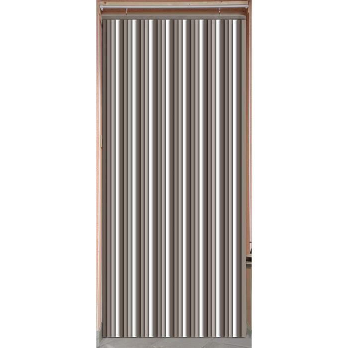 MadeInNature Rideau de Porte Lanières Plastiques, Intérieur et Extérieur, Largeur 90 cm x Longueur 220 cm, Taupe foncé, clair, blanc