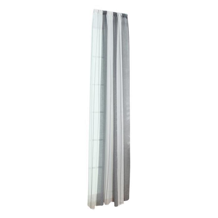 1 Pc Ombrage Rideaux Voile Offset Moderne Minimaliste Fine-rayé Chanvre Fil Rideau Sheer-100x200cm (Gris)