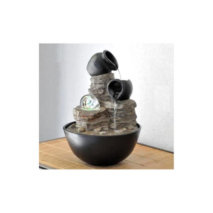 Fontaine d'intérieur -Verso- avec boule en verre et éclairage Led Noir