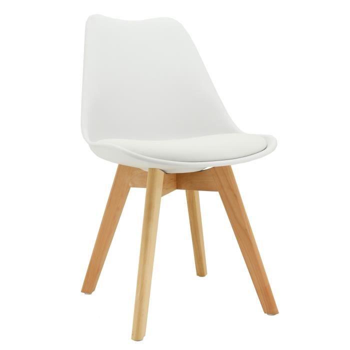 Chaise coussin en polypropylène et bois Blanc