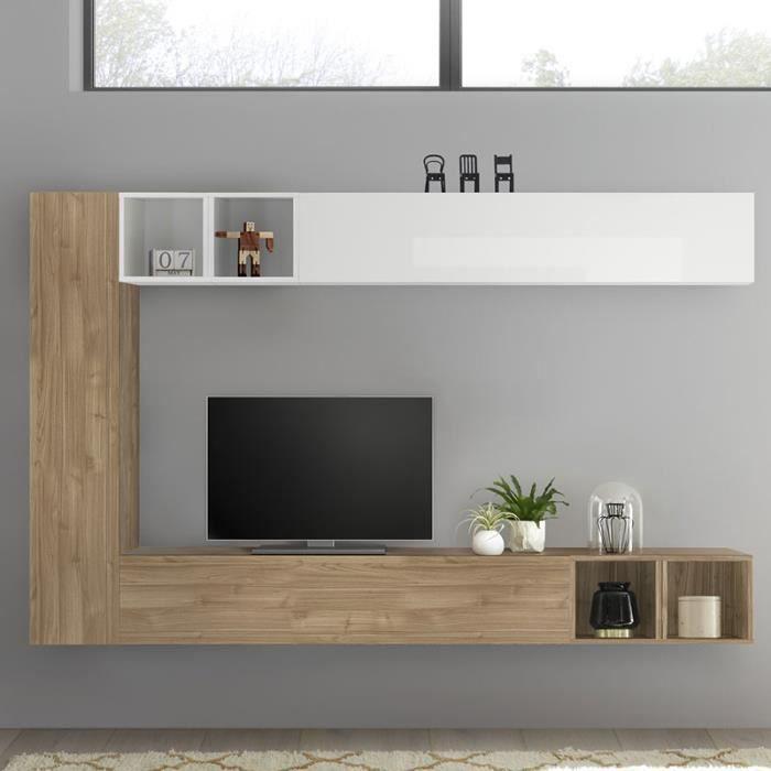 Meuble TV suspendu blanc laqué et couleur chêne LIZZANO Marron L220 x P 30 x H 180 cm