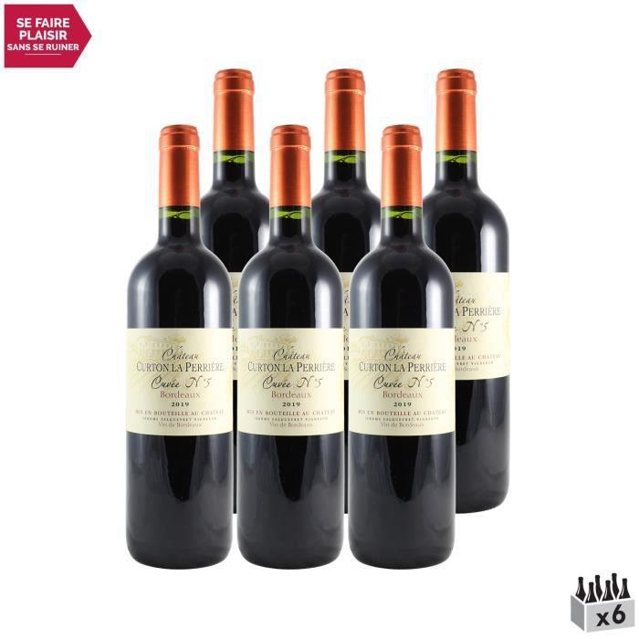 Château Curton la Perriere N°5 Rouge 2019 - Lot de 6x75cl - Vin Rouge de Bordeaux - Appellation AOC Bordeaux - Cépage Merlot