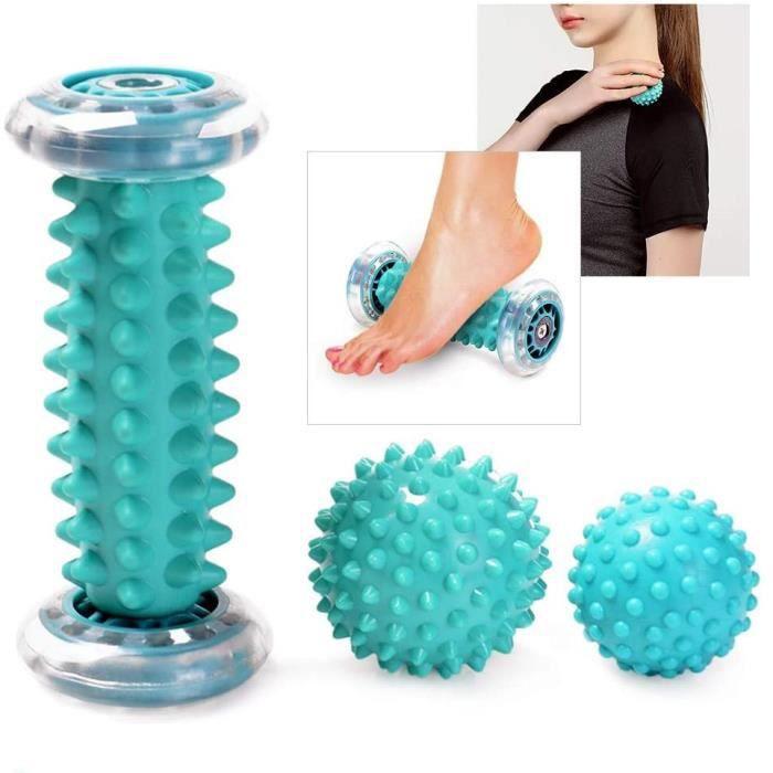 Rouleau Massage Pied, Balle de Massage Pied et 2 Balles de Massage des Pieds Convient à Différentes Parties du Massage-bleu