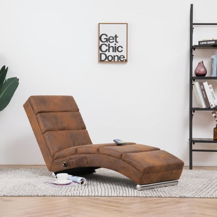 Fauteuil de massage Relax Massant Chaise longue de massage Relaxation Marron Similicuir daim