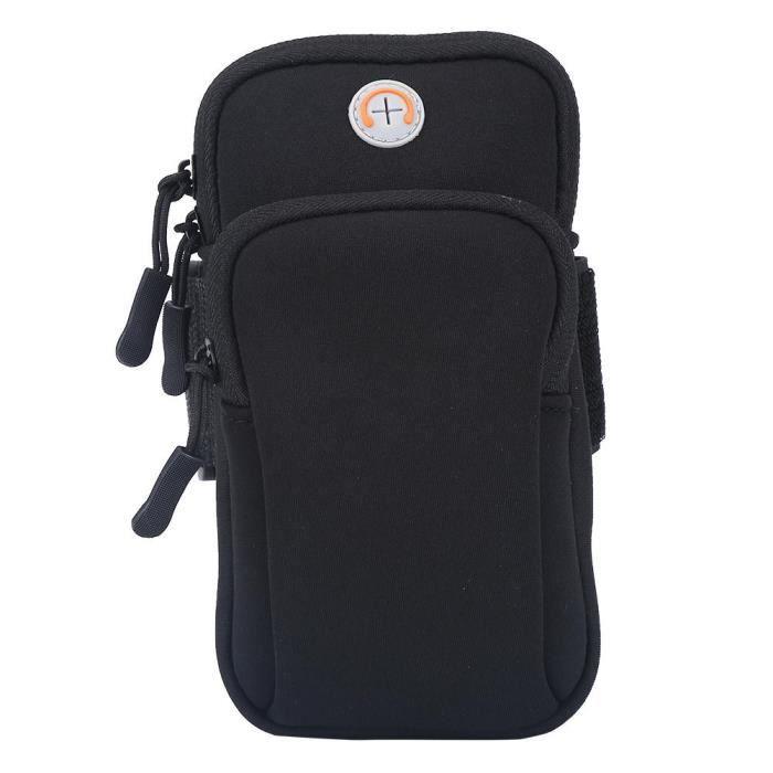 EJ.life Pochette de bras Sport de plein air course jogging exercice gym bras poignet pochette brassard téléphone cas sac noir