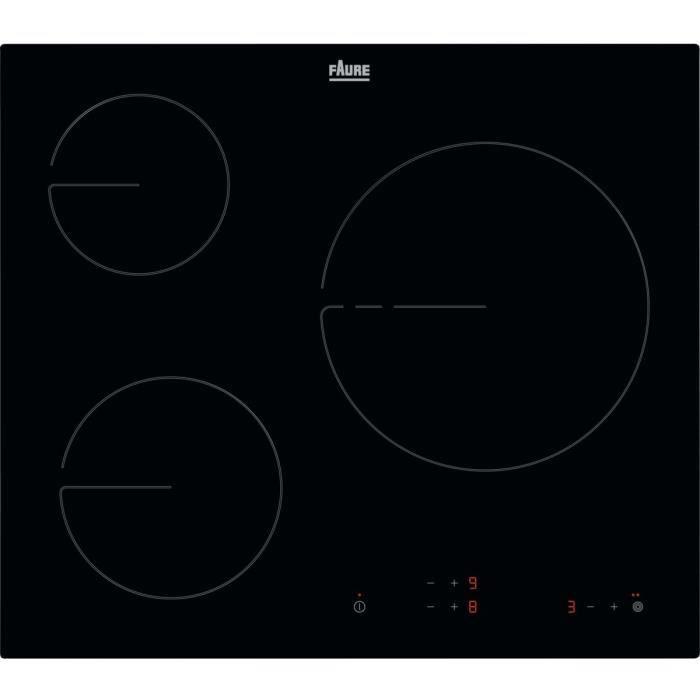 ELECTROLUX FHRN639K Plaque de cuisson vitrocéramique - 3 zones - 5700W - L59 x P52cm - Revêtement verre - Noir