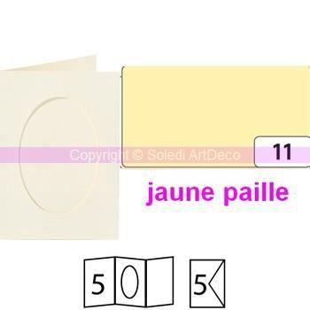 Lot de 5 Cartes passe-partout ovales à 2 volets, avec enveloppes, Format A6 - Jaune paille