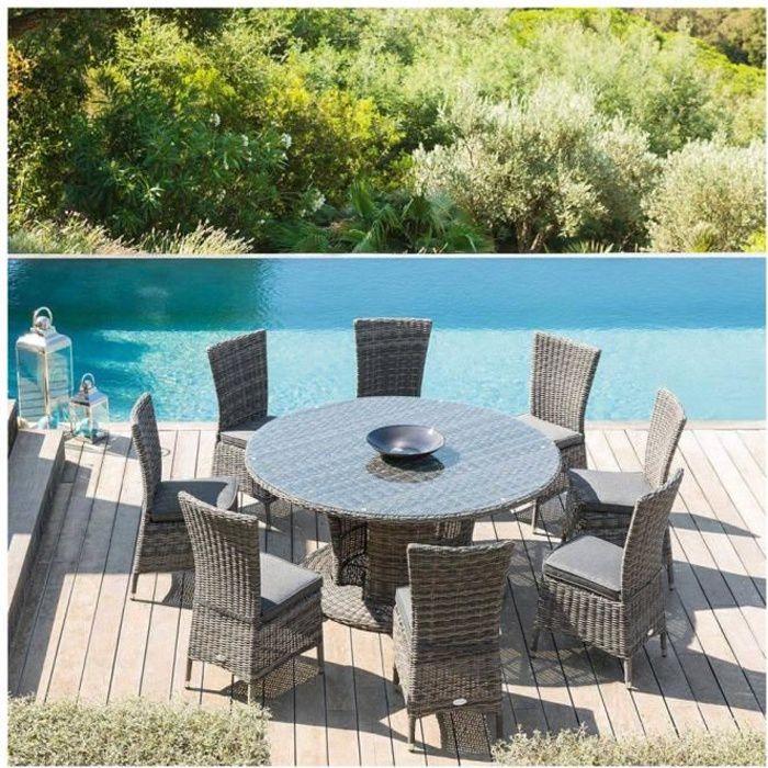 TABLE EXTERIEUR RONDE MOOREA 8 PLACES HESPERIDE