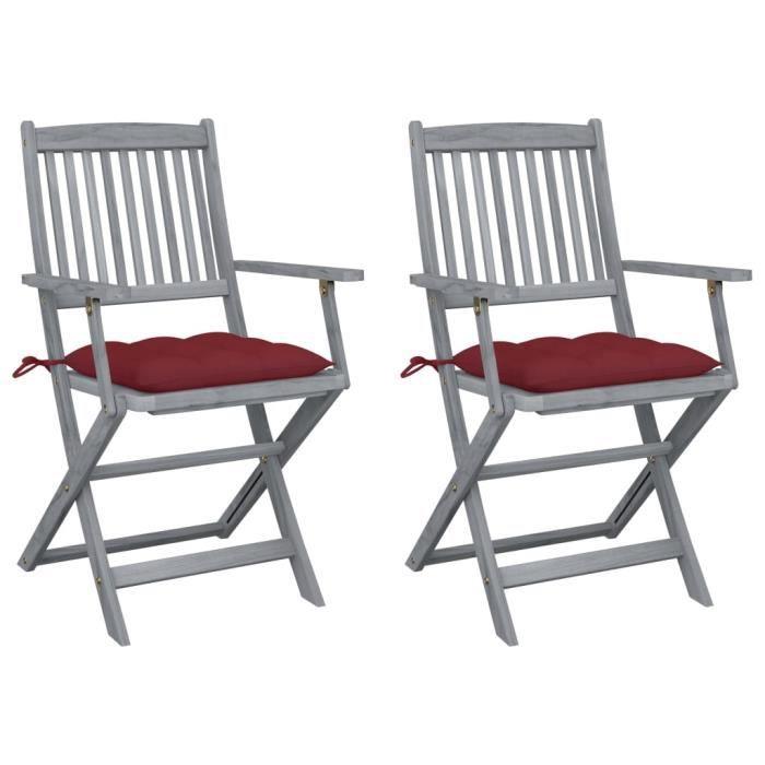 LIA Chaises pliables d'extérieur 2 pcs avec coussins Bois d'acacia - 9