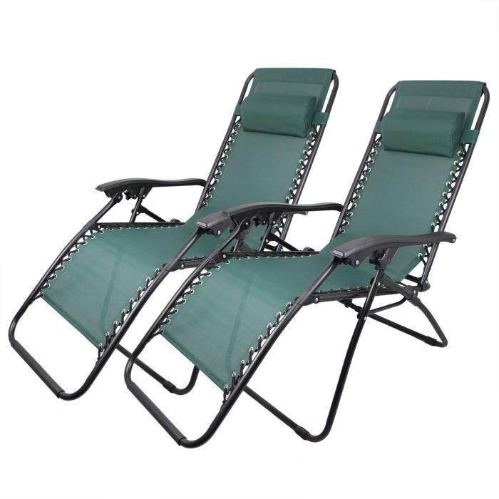Chaise Longue Inclinable, Transat en Textilène de Jardin, 165 x 112 x 65 cm, Vert, Pack de 2, Textilène, Avec coussin