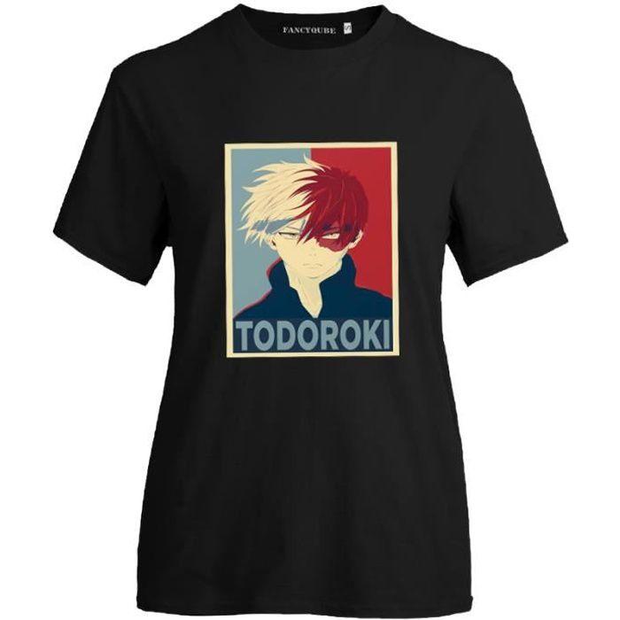 My Hero Academia anime Unisexe T-shirt à manches courtes Casual Tee-Noir